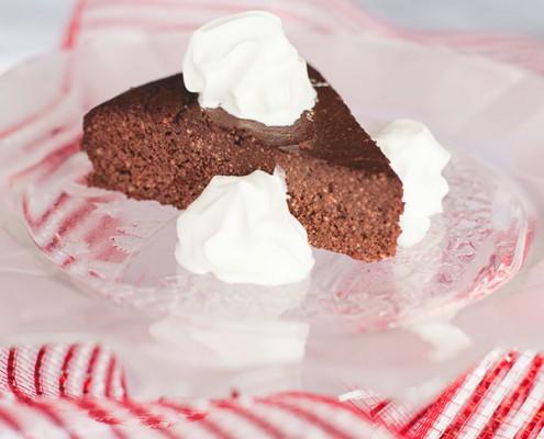 Chocolate Torte with whipped fresh organic heavy whipping cream