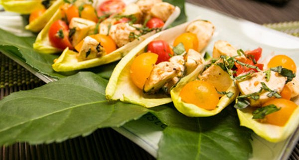 Endive Boats stuffed with Caprese Salad