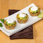 Plantain Cups with Mango Salsa and Whipped Coconut Cream