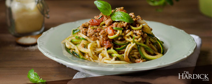 """Zucchini """"Noodles"""" and Tomato Meat Sauce"""