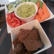 Garlic Parmesan Flax Seed Crackers with hummus and vegetables