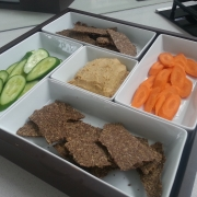 Garlic Parmesan Flax Seed Crackers with cucumbers, carrots and hummus