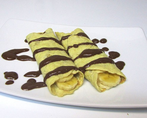Paleo Banana Crepes with Chocolate Fudge Sauce