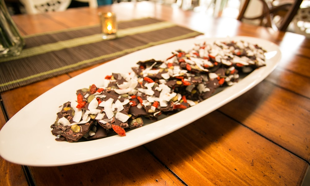 Sugar-Free Chocolate Bark with coconut, nuts and dried fruit