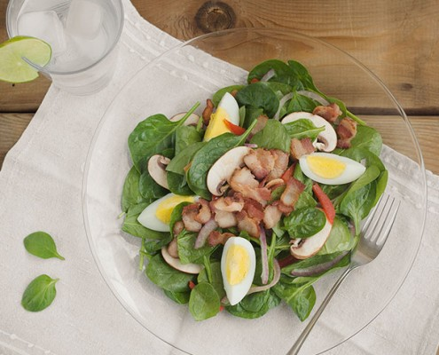 Turkey Bacon and Wilted Spinach Salad