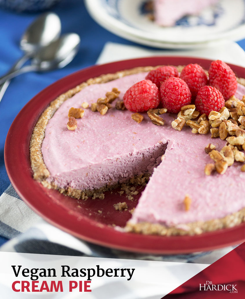 Raw, Vegan & Organic Raspberry Cream Pie