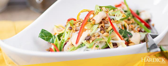 pad thai salad in white bowl