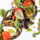 roasted eggplants with capers and arugula pesto