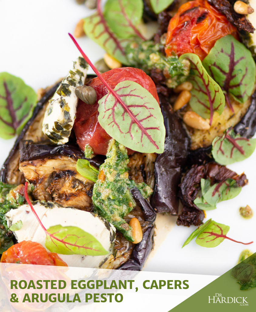 roasted eggplants with capers and arugula pest
