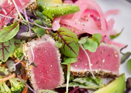 hemp crusted seared tuna with salad
