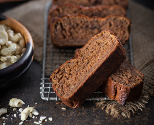 grain free cashew banana bread on table