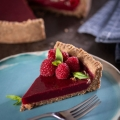 Grain Free Raspberry Pomegranate Pie on Plate